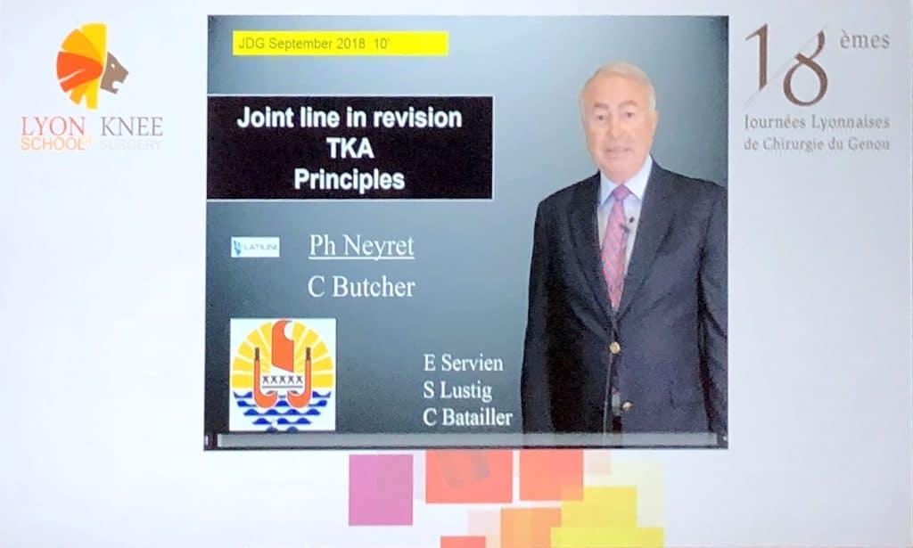 "Prof philippe presented a recorded presentation for the ""Journées lyonnaises du genou"""