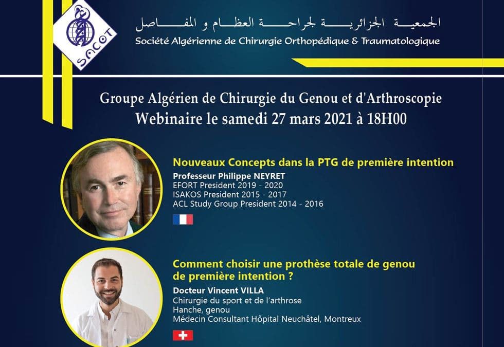 Webinar, 27 mars 2021, Groupe Algérien de Chirurgie du Genou et d'Arthroscopie